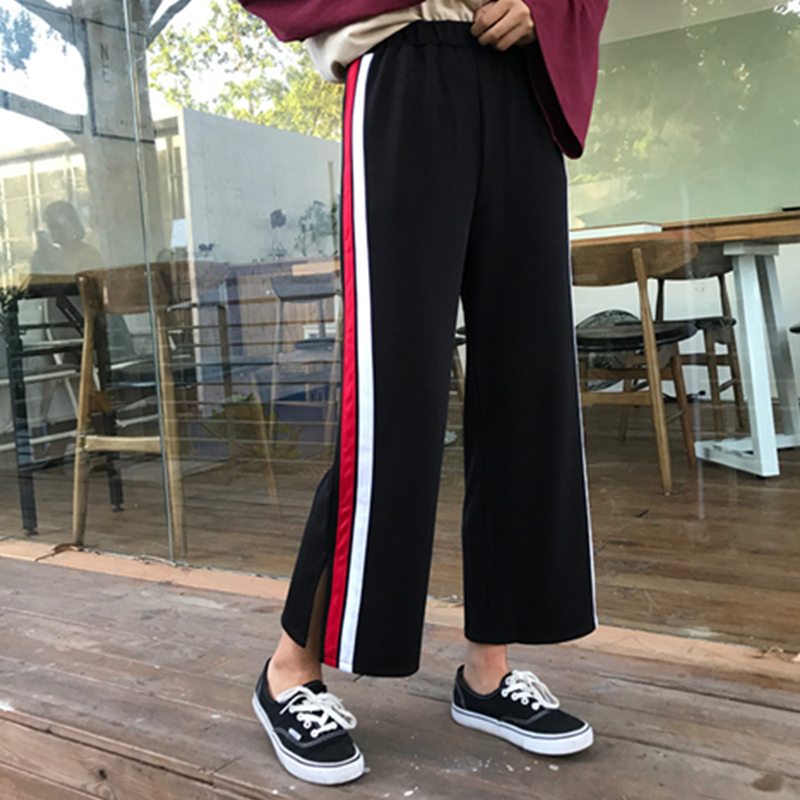 2018 New Autumn Women Casual Loose Style   Wide     Leg     Pants   Famle Elastic Waist Straight   Pants   Ladies Striped Split Ends   Pants