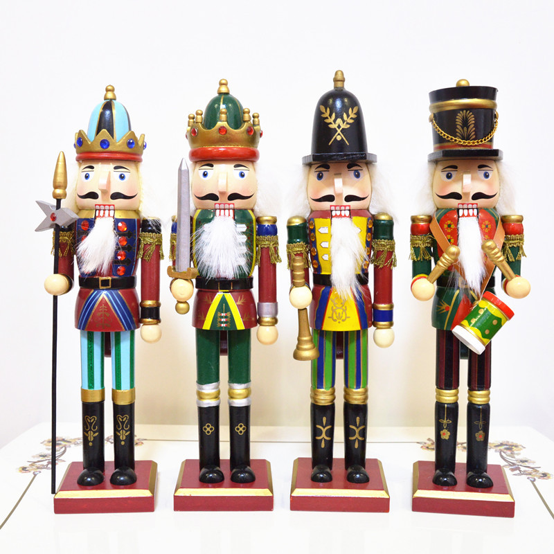 4PCS\set30CM British style Nutcracker Puppet Soldier Wooden Doll Toy Kid's Room Decoration Ornament Bar Decoration Creative Gift free shipping 12cm new wooden cartoon candy people european and american wind puppet christmas nutcracker doll child gift