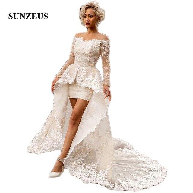 389d63783543b Au-dessus du genou Mini gaine robes de mariée avec amovible Court Train  Sexy robes de mariée de mariée hors de l épaule à manches longues SW05