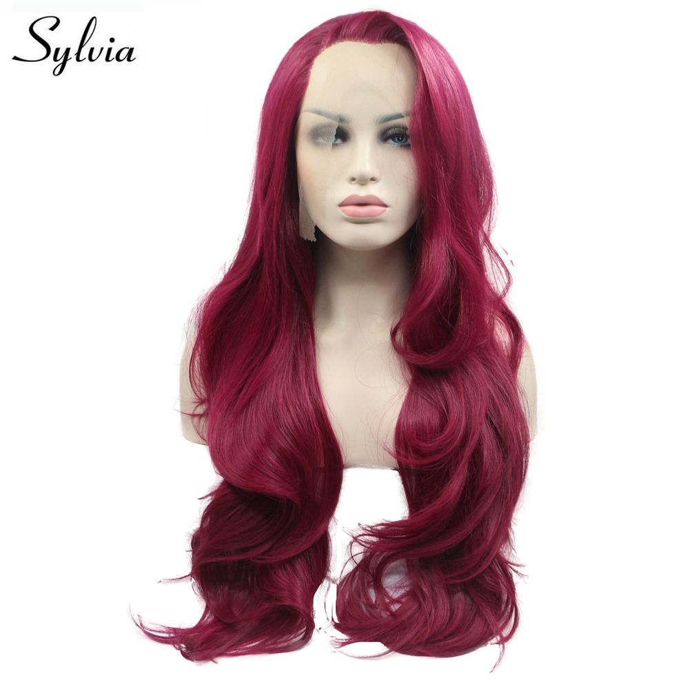 Sylvia Wig Long Red Hair Synthetic Wavy Lace Front Wig With Side Part Heat Resistant Fiber Hair Glueless Wig Makeup Cosplay Wigs