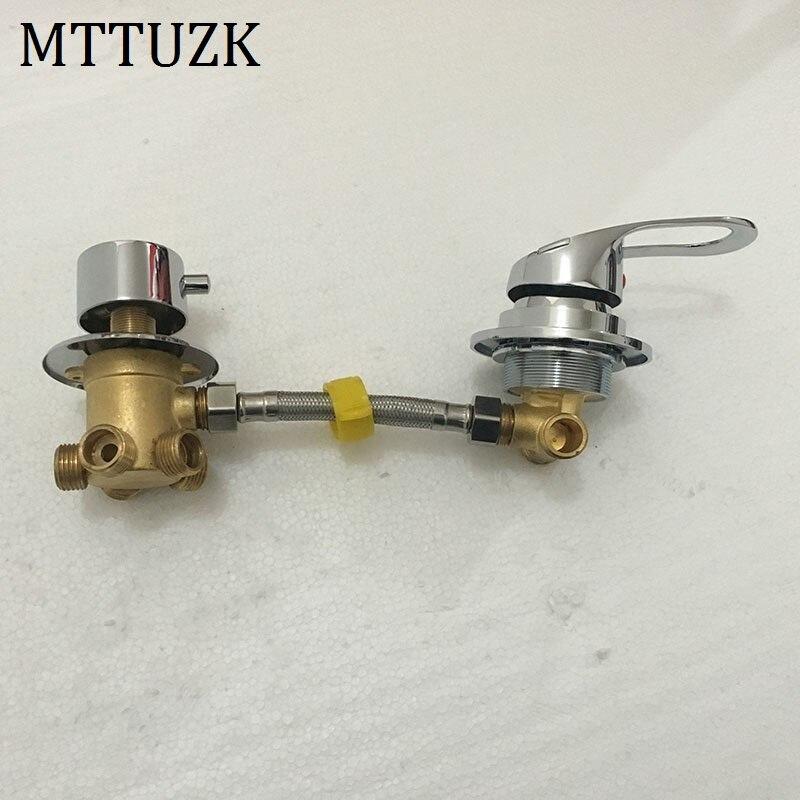 Mttuzk fixado na parede 2/3/4/5 maneiras tomada de água bronze torneira do chuveiro parafuso ou intubação divisão chuveiro cabine chuveiro válvula mistura