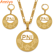 Anniyo PNI Necklaces Earrings Jewelry set Trendy Gold Color Jewellery Pohnpei Island Style Gifts #037121