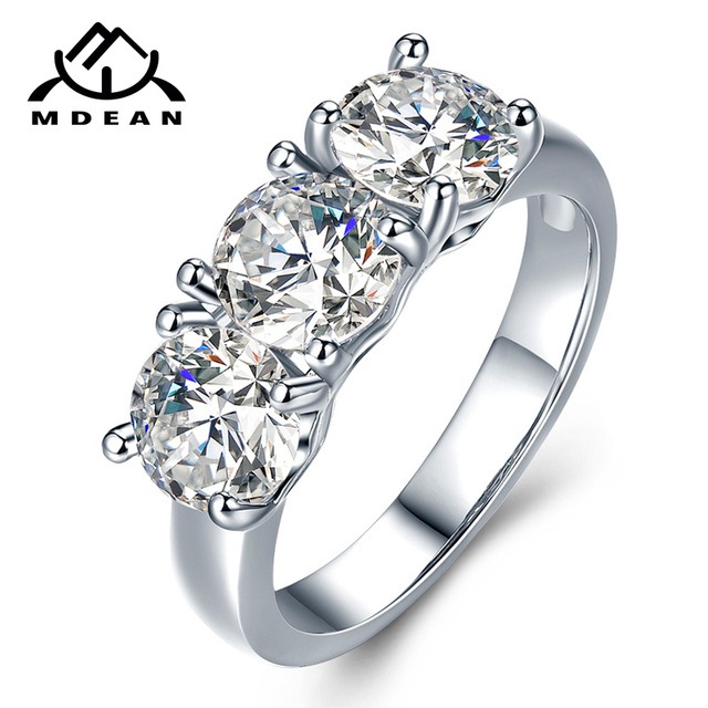 MDEAN White Gold Color Love Heart Wedding Rings for Women Engagement AAA Zircon