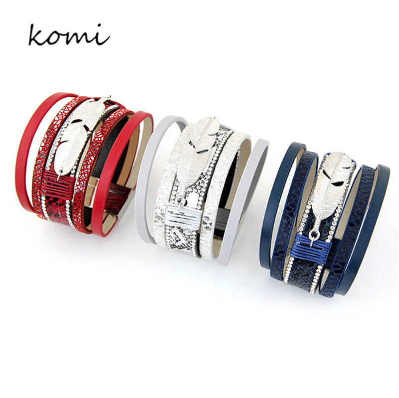 KOMi Fashion Multi Colorful Leather Bracelet Bangles For Women Man Metal Feather With Shining Crystal Love Jewelry O-041