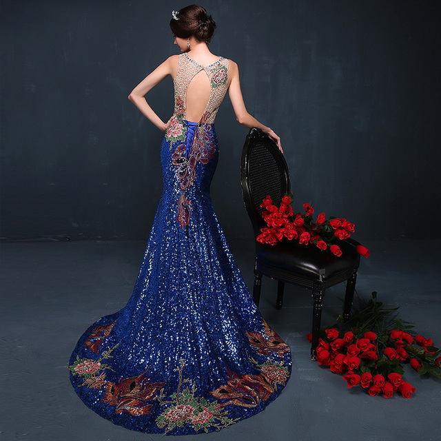 2016 Luxury Royal Blue Chinese Evening Dresses Gorgeous Long Cheongsams Sequins/Rhinestones/Embroidery Backless Prom Gown qipao