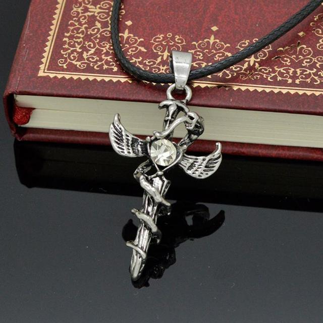 New mens cool antique silver snake cross pendants necklaces punk new mens cool antique silver snake cross pendants necklaces punk vintage angel wings necklace men jewelry aloadofball Image collections