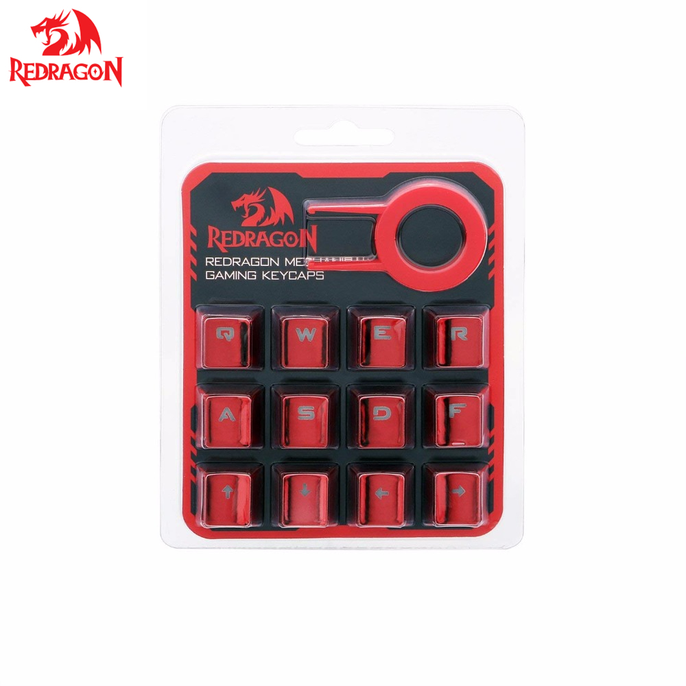 Redragon 12 Keys PBT Double Shot Injection Backlit Metallic Electroplated Red Color Keycaps for Mechanical Switch