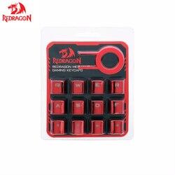 Redragon 12 chaves pbt injeção de tiro duplo retroiluminado metálico galvanizado cor vermelha keycaps para teclados de interruptor mecânico