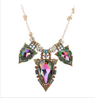 New Statement Women Multicolor Flower Charm Large Crystal Rhinestone Pendant Choker Chunky Statement Bib Collar Necklace