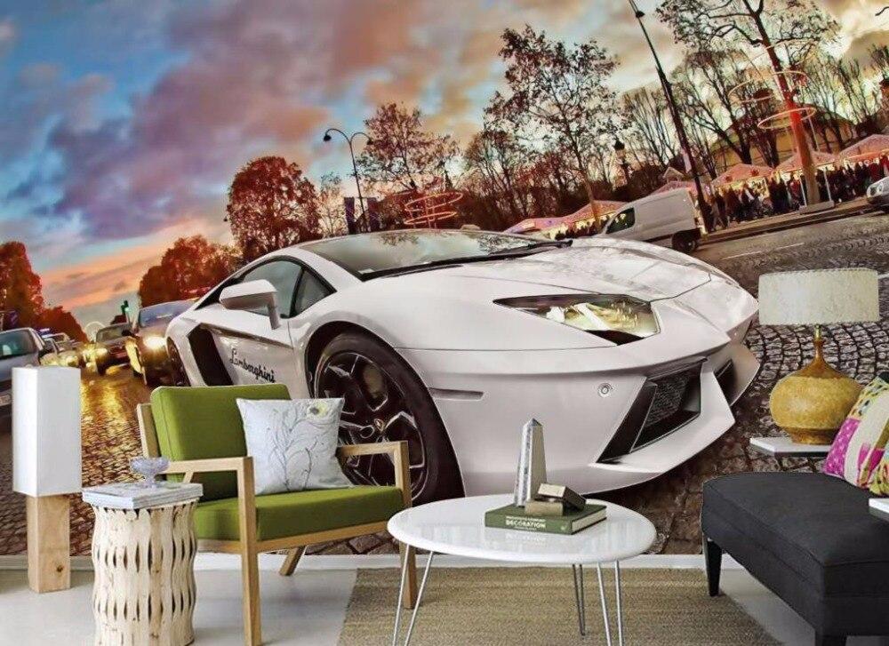 Пользовательские 3D обои спортивный автомобиль обои для стен 3 D ТВ фон гостиная Спальня декоративные Картины