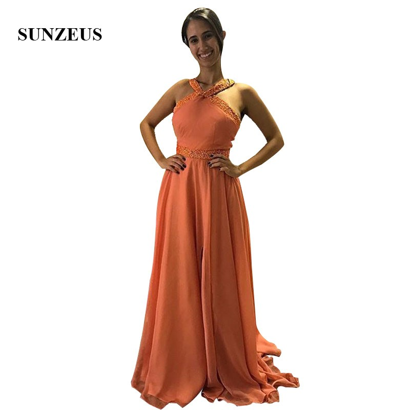 Orange Chiffon   Prom     Dresses   Beaded Straps And Waistband Long Party Gowns A-line Girls Formal Wear