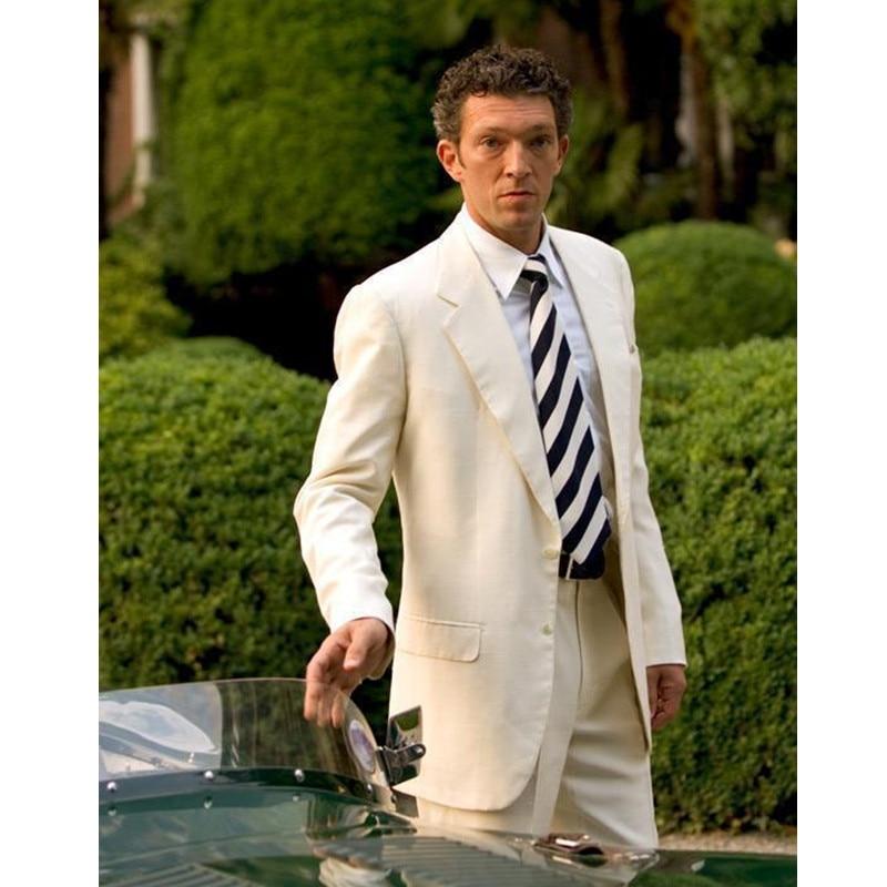 pánské obleky ze slonoviny pánské pro muže bílé tuxedos vroubkované klopy pánské obleky slim fit podkoní svatební obleky (bunda + kalhoty)