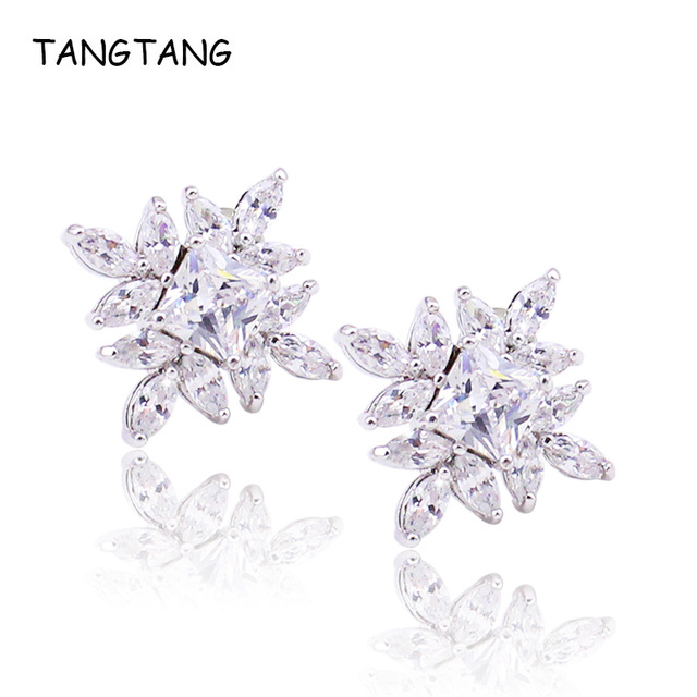 1420d5bee Quality Women Shiny CZ Crystal Stud Earrings Clear Marquise White Gold  Plating Square Earrings Unique Polished