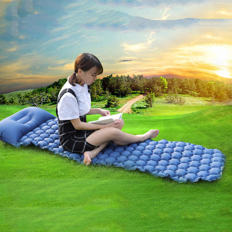 Camping Mat Ultralight Inflatable Sleeping Pad Kasur dengan Bantal untuk Outdoor Camping Hiking Backpacking Perjalanan