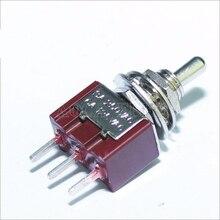 100 sztuk MTS 102 C2 PCB przełącznik dwupozycyjny 6MM 3A 250VAC 6A 125VAC 3 Pin SPDT na czerwony kolor z krótkim siłownika i Terminal PCB