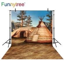 Funnytree fotografia backdrop fantasia Indiana acampamento montanhas árvore decor fundo photocall fotográfico impresso personalizado