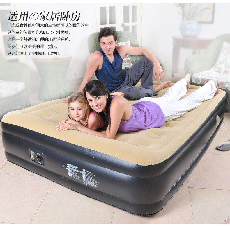 Hot Sale Flocking Comfortable PVC Air Mattress Built-in Inflatable Pump Waterproof Safety Durable Eco-friendly Outdoor Camping
