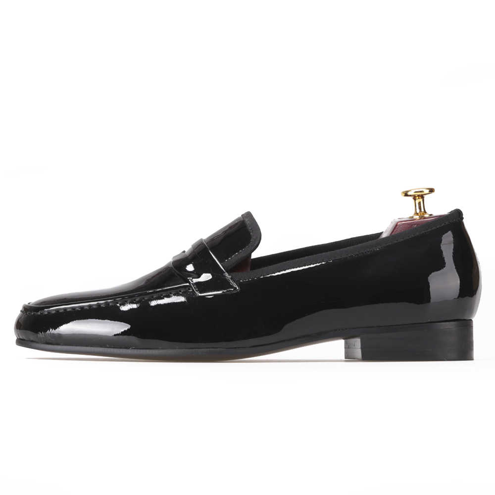 0685591e3043 Classic Designed Black Patent Leather Shoes Men Party and Wedding Loafers leather  shoes men