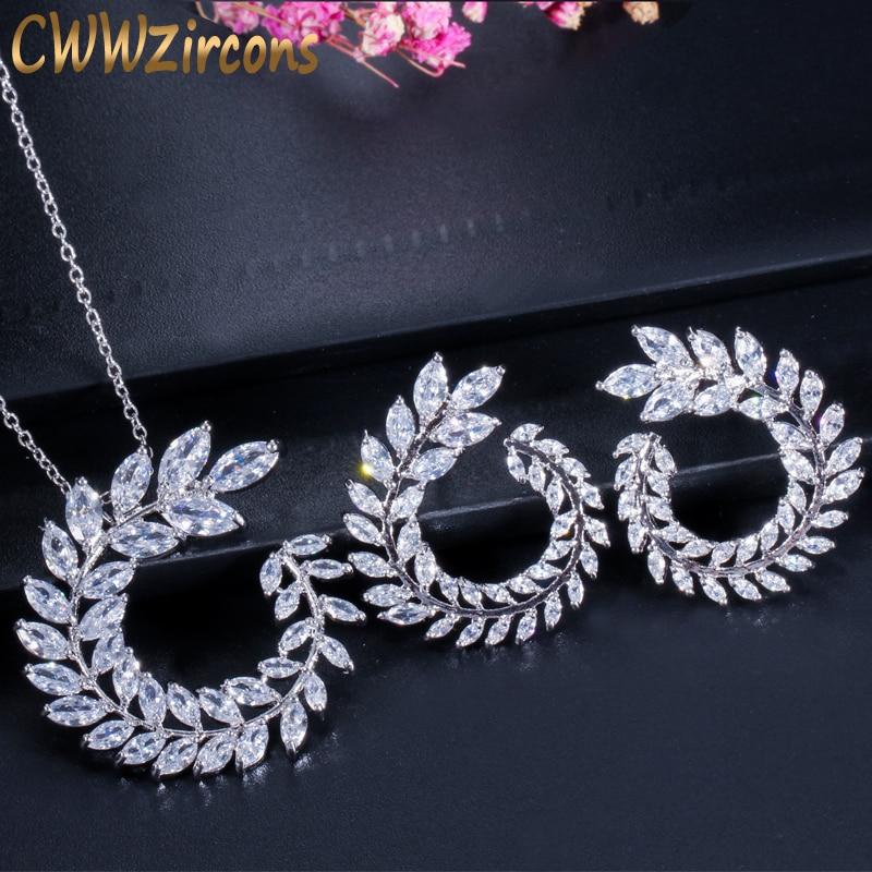 CWWZircons Divat Női jelmez ékszerek Sparkly Olive Branch Marquise vágott köbös cirkónium medál nyaklánc és fülbevaló készlet T087