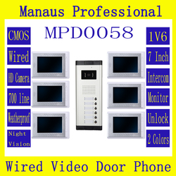 Professional Multi-storey Smart Home 7 LCD Screen Video Intercom Phone,One to Six Video Doorphone Kit Configuration D58a