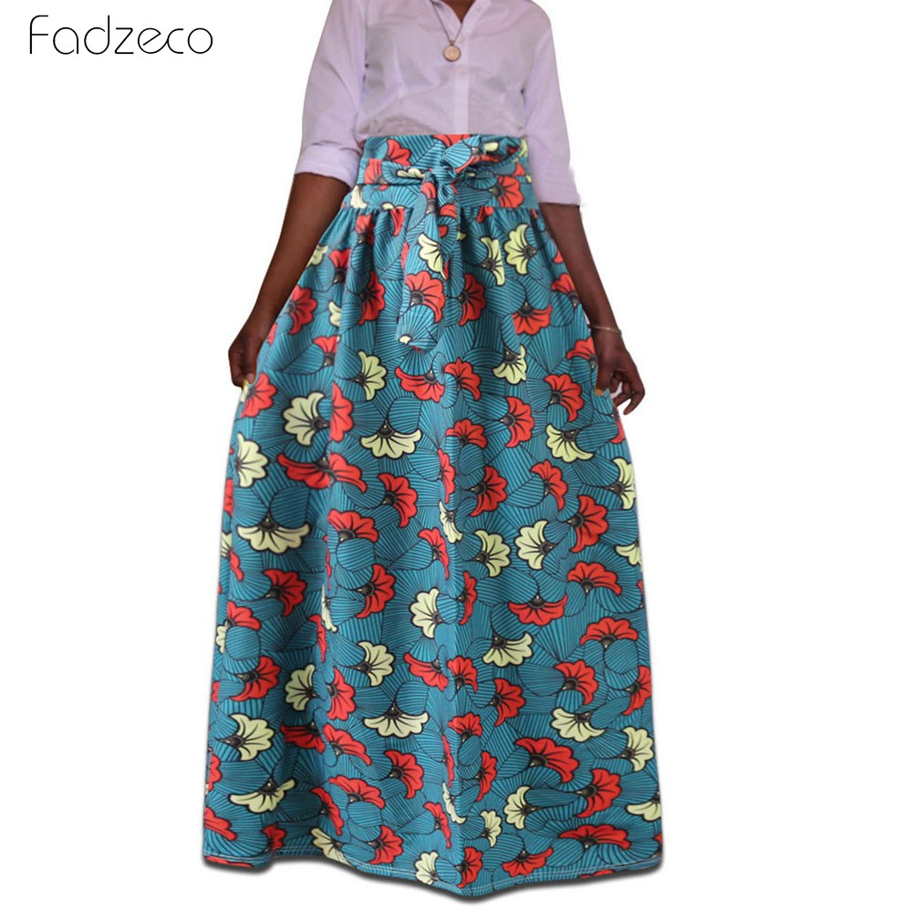 Fadzeco Dashiki African Dresses For Women Floral Pattern Long Pleated Skirts 2019 Summer Bohemian Printed High Waist