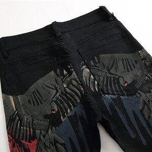 Image 4 - Özel fiyat! Erkek renkli desen 3D baskılı geri kot moda kartal boyalı slim fit düz pantolon