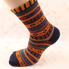 Happy socks men Personalized national style thick line mens cotton retro autumn winter
