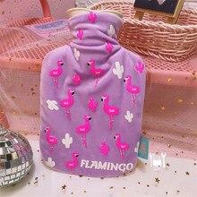 O envio gratuito de 500 roxo flamingos padrão garrafa de água quente saco bonito dos desenhos animados impresso saco de enchimento de água portátil mini bomba de água quente de pelúcia