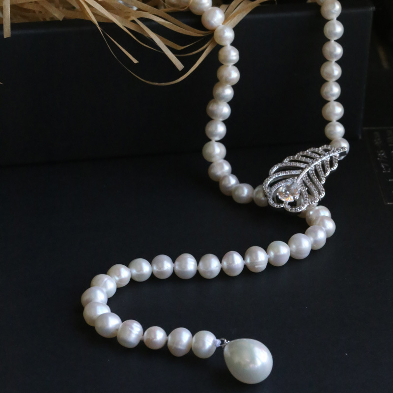 Creative Natural Freshwater Pearl Chain Neclace Jewelry For Women Sweater chain Best Friend Necklace Pendant Jewelry 2018 LX6 все цены