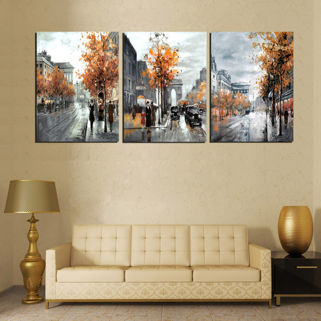Vintage Abstract Painting 3 Panel Line City Street Landscape Painting  Living Room Decor Canvas For Wall