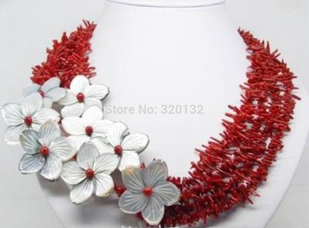 LIVRAISON GRATUITE >@@> Femme de Bijoux superbe naturel rouge corail shell fleur collier En Gros Argent crochet et