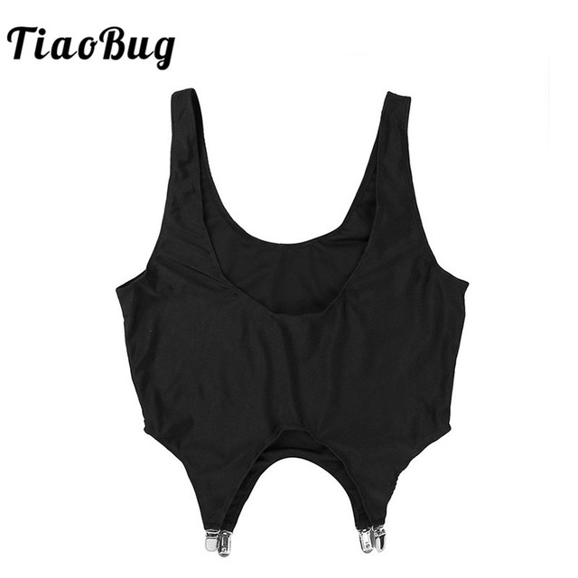 36d7bdf6fed7f6 TiaoBug Black Sexy Mens Muscle Low Back Vest Corset Bodysuit Crop Tank Top  Garters Metal Clips Hot men Mankini Camisa Suspenders