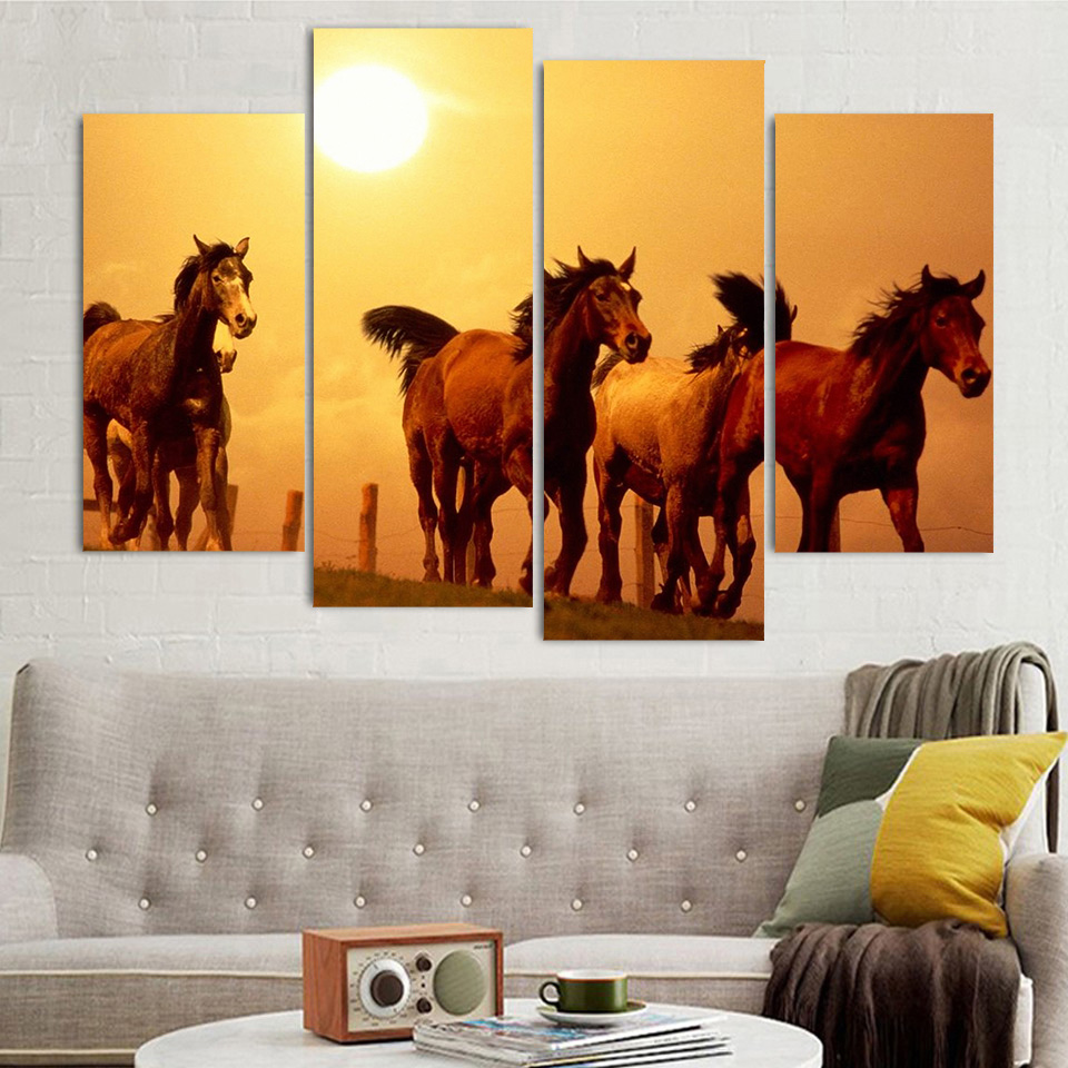 Decor Living Room Painting HD Modular Pictures 4 Panel Horses Sunset Farm Land Framework Wall Artwork Printed Canvas Poster Home