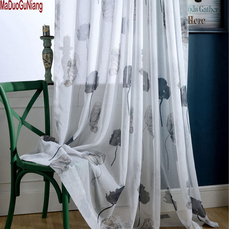 Hand Drawing Curtains For Living Room Elegant Lotus