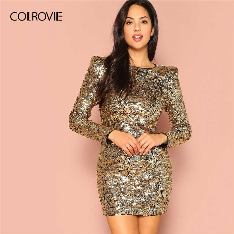 3d00906e08e COLROVIE Gold Form Slim Sequin Party Dress Women 2019 Spring Streetwear  Long Sleeve Mini Dress Club