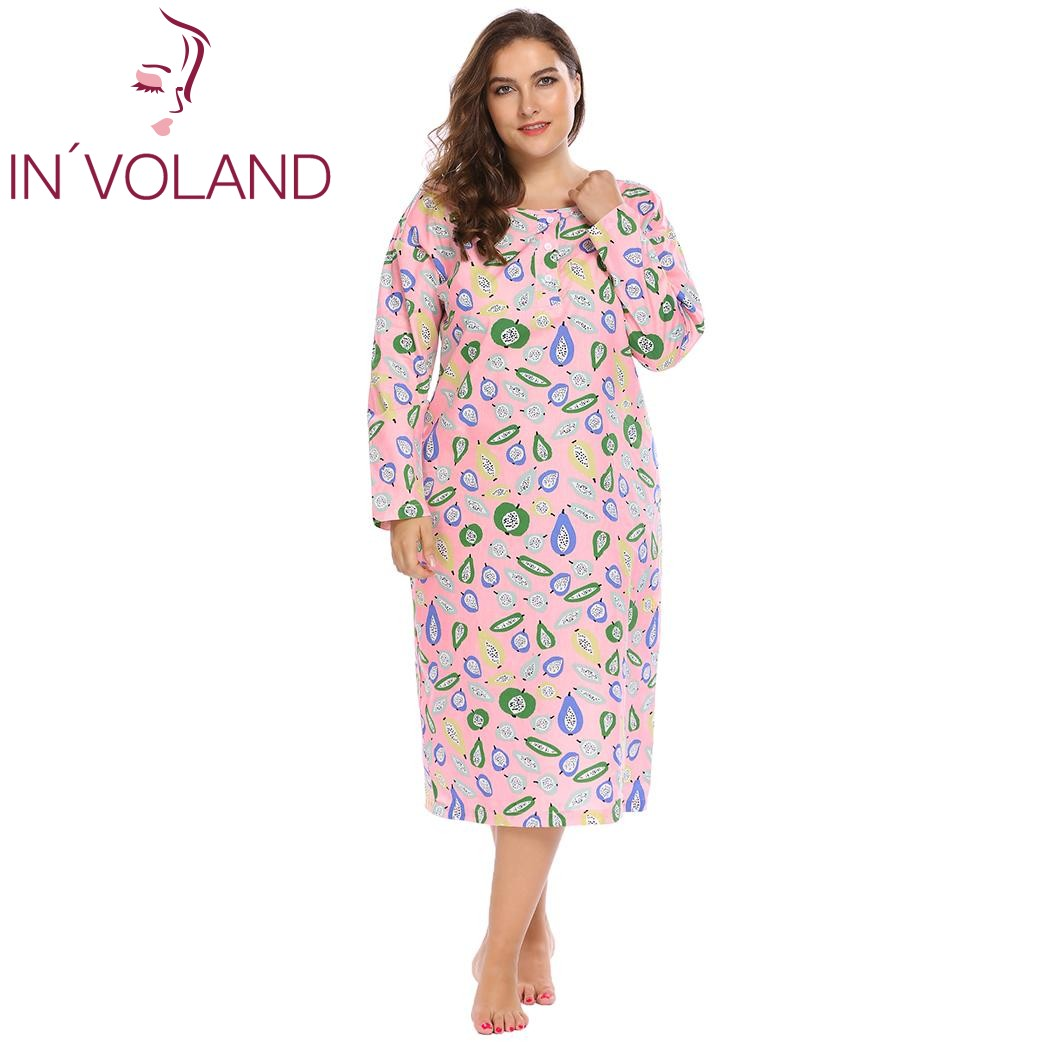 IN'VOLAND Plus Size Women Sleepwear Dress Lounge Lingerie L-4XL Round Neck Long Sleeve Print Loose Long   Nightgown     Sleepshirts