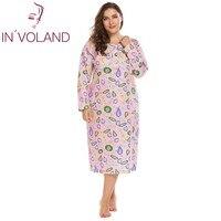 IN'VOLAND Plus Size Women Sleepwear Dress Lounge Lingerie L-4XL Round Neck Long Sleeve Print Loose Long Nightgown Sleepshirts