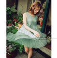 2016 Summer New Korean Style Sleeveless Linen And Cotton Pregnant Women Dress Green Tank Dress Maternity Plus Size A-line Dress