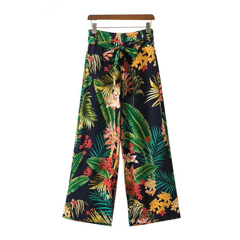 2018 Summer Tropical Floral Leaf Print Wide Leg Pants Sashes Tied Bow Women High Waist Loose Trousers Casual Pants Streetwear