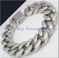 High Polished Fashion Jewelry 21.5cm Length Silver Stainless Steel Pure Hand Link Chain Men's&Boys Bracelets Bangles,Top Quality