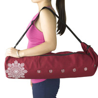 Gym Fitness Backpack durable canvas cotton yoga mat bag with large zipper opening easy loading mat