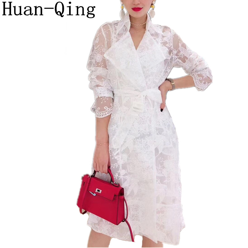 High Quality Women Sexy Lace Mesh Embroidery Through White   Trench   Coat Double-breasted Belt Turn-Down Collar Long Coat Outerwear