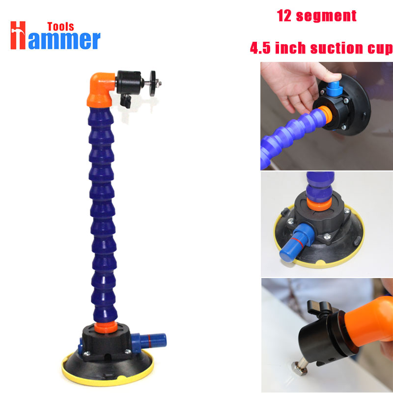 4.5inch Heavy Duty Hand Pump Suction Cup with flexible gooseneck pipe and 360 Swivel Ball Head tripod's head for PDR LED lamp