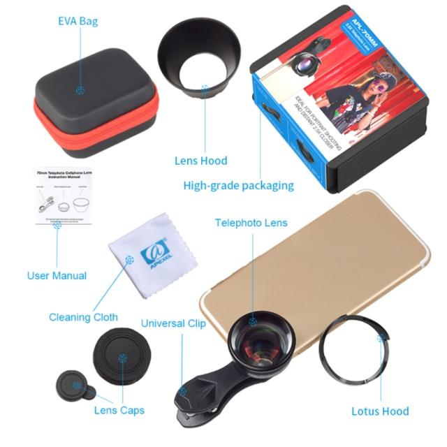 APEXEL téléphone caméra objectif 2.5X téléobjectif zoom professionnel HD Portrait bokeh lente pour iPhone objectif plus téléphone 70mm