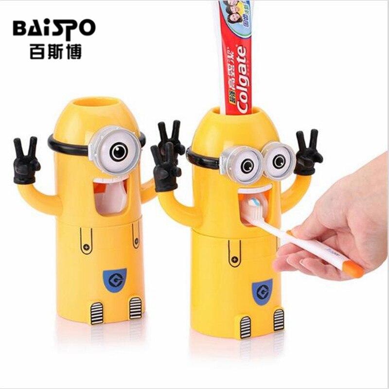 Baispo Товары для ванной милые Дизайн набор мультфильм Зубная щётка Держатель автоматический Зубные пасты диспенсер Выдавливали для зубной пасты