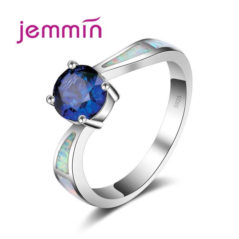 Jemmin Simple Ring Round Dark Blue Created Fire Opal Rings ...