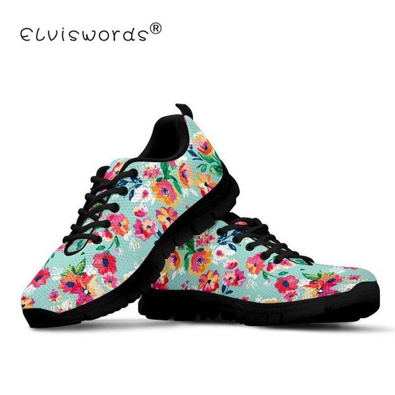 ELVISWORDS Floral femmes maille appartements noir chaussures Plat forme femme adolescente filles espadrilles décontractées femme femmes Sport chaussure antidérapant