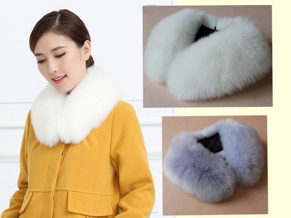 Womens Elegant Celeb Faux Fox Fur Scarves Neck Warmer Wraps False Collar Ladies Imitation Fox Fur Collar for Coat Wrap Scarves