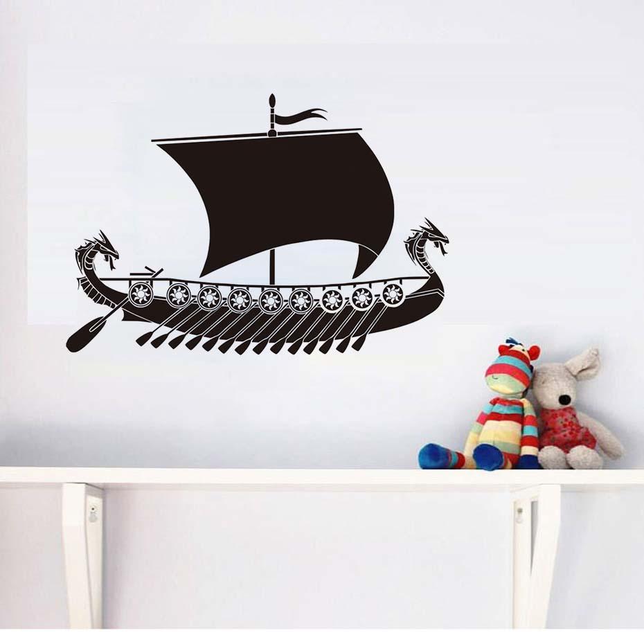 Us 889 23 Offdragon Viking Ship Wall Sticker Boat Vinyl Art Wallpaper For Kids Bedroom Living Room Decor Transfer Vintage Decoration In Wall