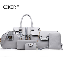 CIKER New 6pcs/set High Quality PU Leather Women Messenger Bag Big Shoulder Bag Large Capacity Tote Handbags Famous Brand Bolsas